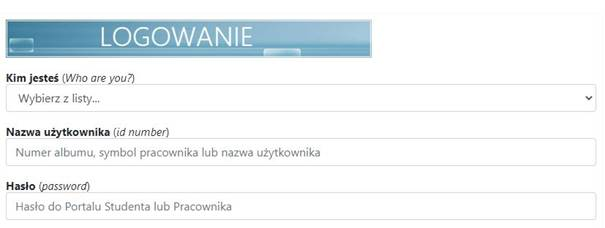 Login screen: Title 'Logowanie', select list: 'Who are you', input 'id number', input  'password'