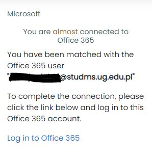 Block showing status of the account connection with Office 365 services
