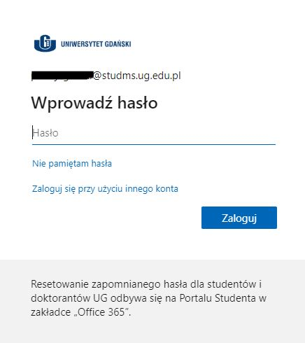 Enter your password in the 'Wprowadź hasło' input