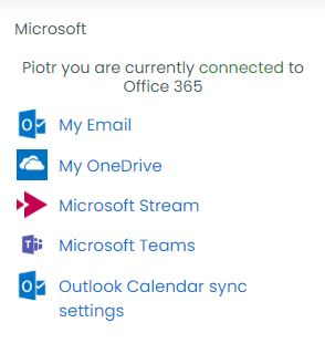 Message: [name], you are currently connected to Office 365