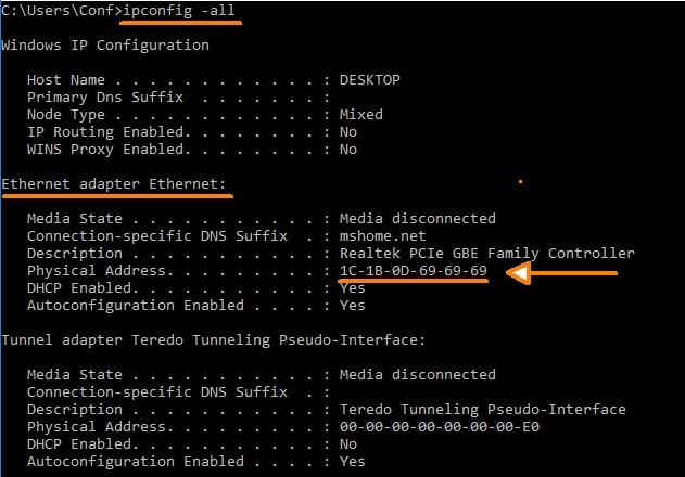 Windows 10 finding MAC address
