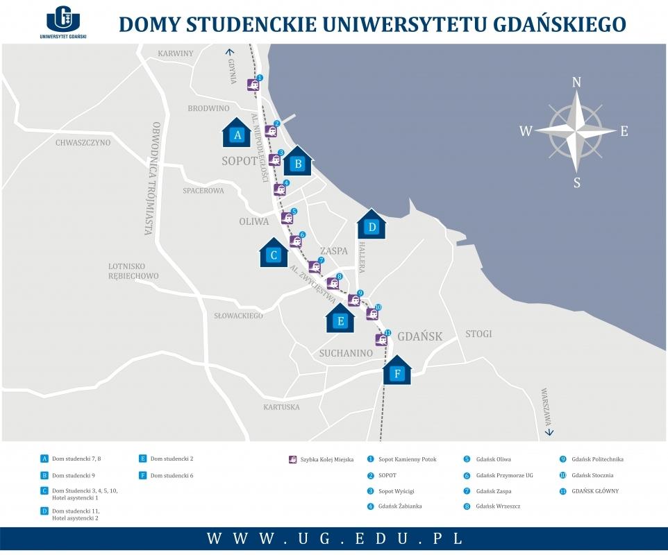 Akademiki UG na mapie