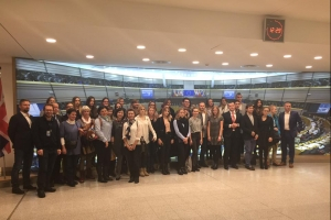 Students at European Parliament in Brussels